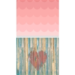 Blush Ombre & Heart Planks Extended Floordrop Printed Backdrop