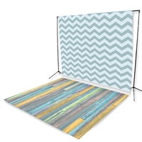 Baby Boy Chevron & Light Pastel Planks Floor Extended Printed Backdrop