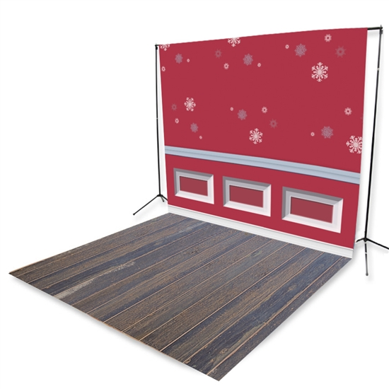 Christmas Wainscoting & Blue Pine Floor Extended Printed Backdrop