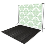 Green Damask & Dark Planks Floor Extended Printed Backdrop