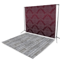 Dark Maroon Damask & Gray Pine Floor Extended Printed Backdrop