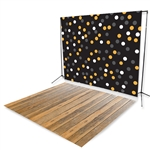 Halloween Polka Dots & Natural Pine Floor Extended Printed Backdrop