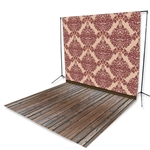 Maroon Damask & Handscraped Oak Floor Extended Printed Backdrop