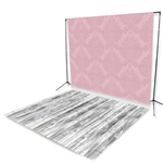 Pink Damask & Whitewash Floor Extended Printed Backdrop