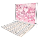 Floating Hearts & Bleach Planks Floor Extended Printed Backdrop