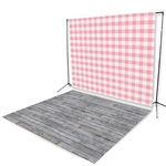 Pink Plaid & Gray Pine Floor Extended Printed Backdrop