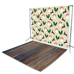 Deer Santa & Wild West Floor Extended Printed Backdrop