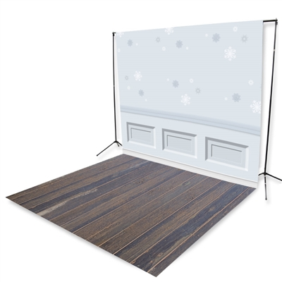 Snowflake Wainscoting & Blue Pine Floor Extended Printed Backdrop