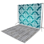 Teal Damask & Gray Pine Floor Extended Printed Backdrop