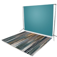 Teal Nearly Solid & Peach Distressed Floor Extended Printed Backdrop