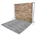 Vintage Brick & Gray Pine Floor Extended Printed Backdrop