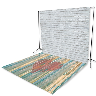 White Brick & Distressed Heart Floor Extended Printed Backdrop