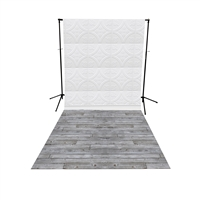 White Tin Tiles & Gray Pine Floor Extended Printed Backdrop