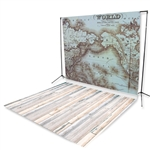 World Map & Bleach Planks Floor Extended Printed Backdrop