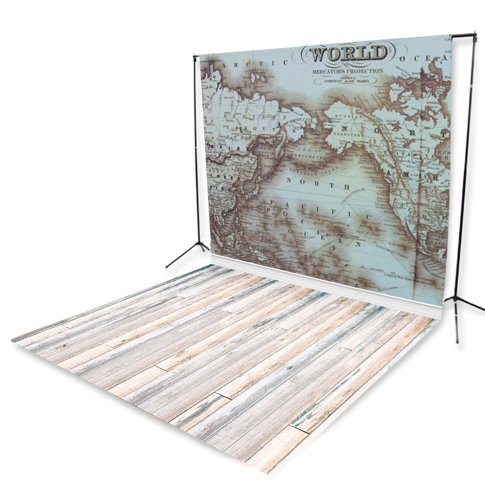 World Map U0026 Bleach Planks Floor Extended Printed Backdrop
