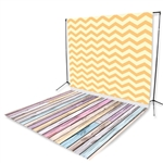 Yellow Chevron & Pastel Planks Floor Extended Backdrop