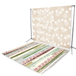 Cream Bokeh & Holiday Patterns Floor Extended Printed Backdrop
