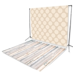 Cream Polka Dots & Bleach Planks Floor Extended Printed Backdrop