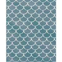 Aqua Mermaid Scales Printed Backdrop