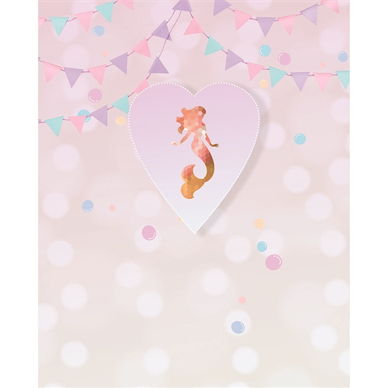Heart Mermaid Printed Backdrop