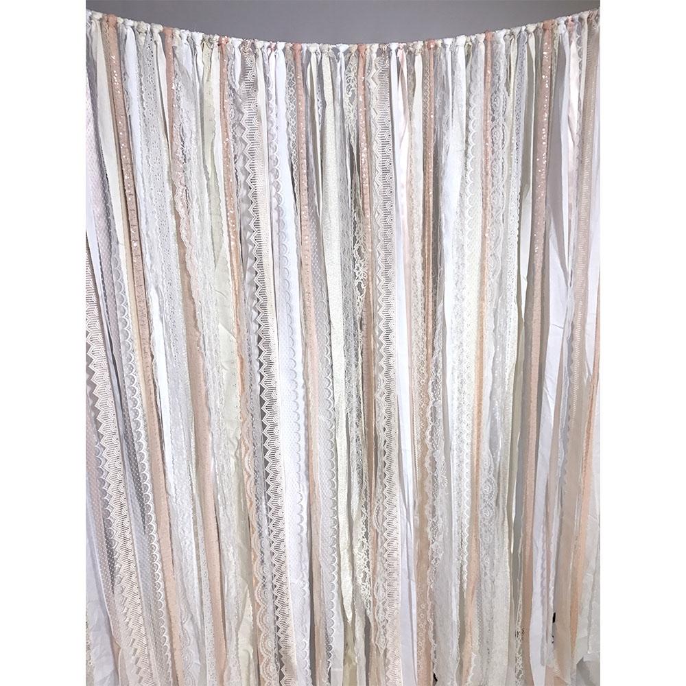 Ivory & Pink Fabric Garland Backdrop | Backdrop Express