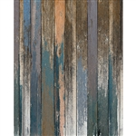 Blue and Peach Distressed Wood Floordrop