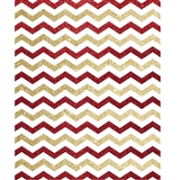 Red and Gold Glitter Chevron Printed Backdrop
