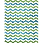 Blue and Green Glitter Chevron Printed Backdrop