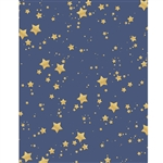 Blue and Gold Glitter Stars Printed Backdrop