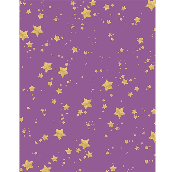 Purple And Gold Glitter Stars Printed Backdrop Backdrop