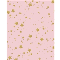 Pink with Gold Glitter Stars Printed Backdrop