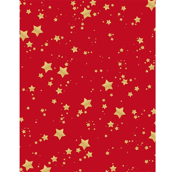 Red and Gold Glitter Stars Printed Backdrop
