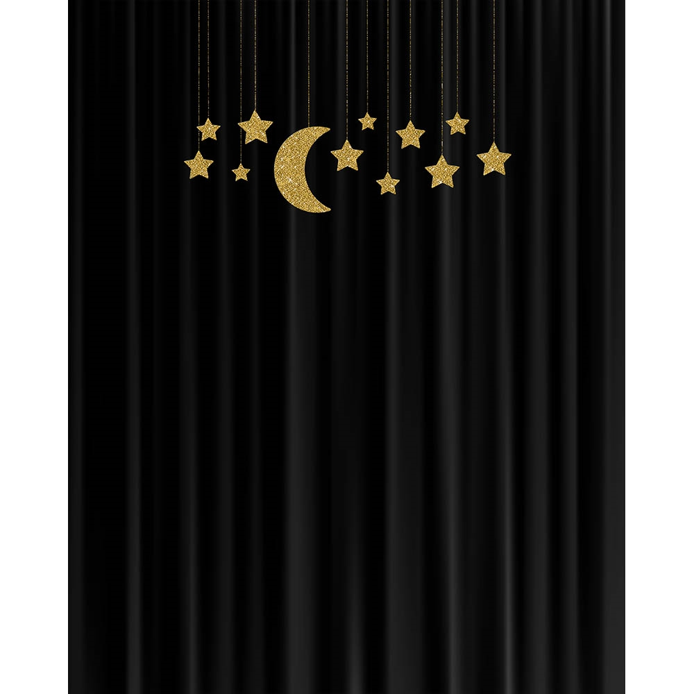 Stars On Black Curtain Printed Backdrop Backdrop Express