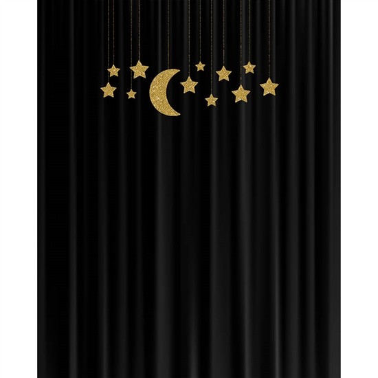 Stars on Black Curtain Printed Backdrop