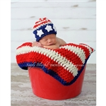 Stars & Stripes Crochet Beanie with Optional Blanket