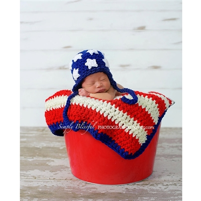 Crochet American Flag Earflap Hat with Optional Blanket