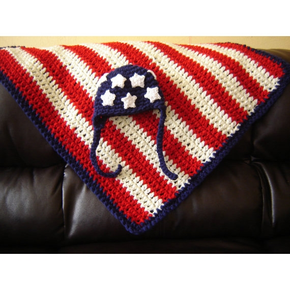Crochet American Flag Earflap Hat With Optional Blanket Backdrop