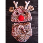 Reindeer Hat & Diaper Cover Set