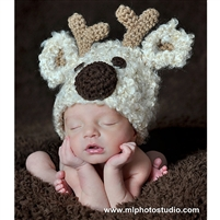 Cream Reindeer Knit Hat