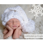 White Christmas Crochet Elf Hat