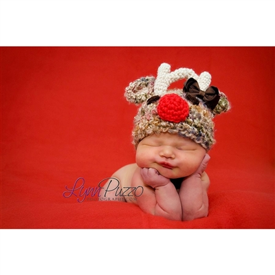 Reindeer with Bow Knit Hat