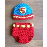 Super Hero Hat & Diaper Cover Set
