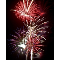 Red Fireworks Printed Backdrop