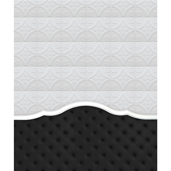 Black Tufted Headboard Printed Backdrop