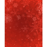 Red Snowflakes Printed Backdrop - Vinyl - 5ft (w) x 9ft (h)