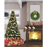 Christmas Living Room Printed Backdrop