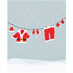 Santa Clothesline Printed Backdrop