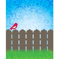 Bird on a Fence Printed Backdrop
