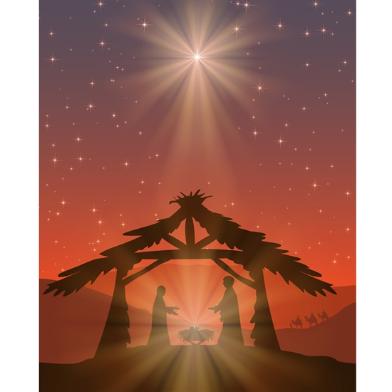 Nativity Scene Printed Backdrop - Vinyl - 5ft (w) x 6ft (h)