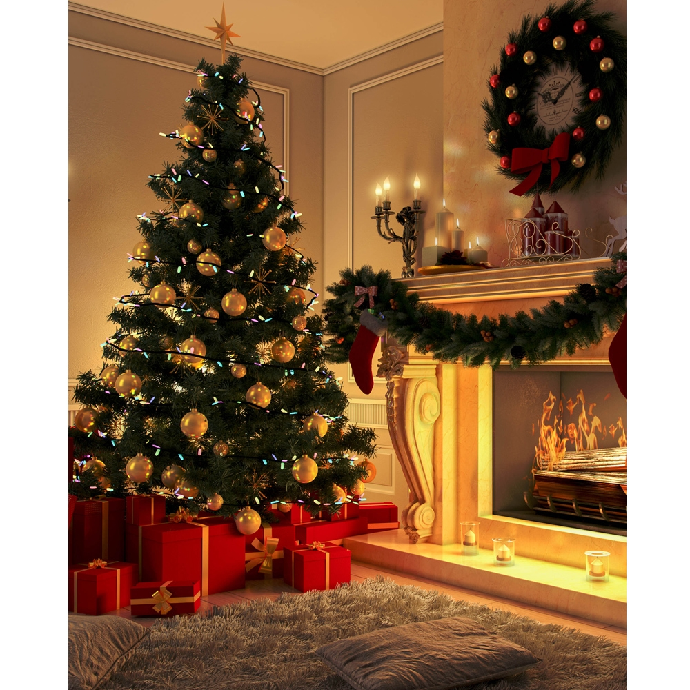 holiday fireplace printed backdrop